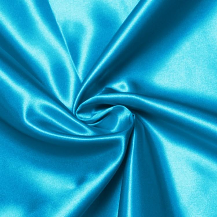 Tissu satin semi épais bleu turquoise au mètre