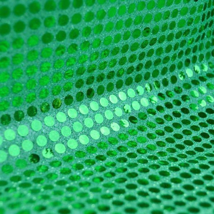 Tissu paillettes rondes vert