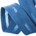 Biais polycoton bleu au mètre et rouleau