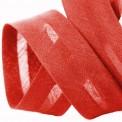 Biais polycoton rouge au mètre et rouleau