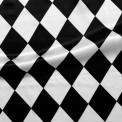 Satin carnaval arlequin blanc noir