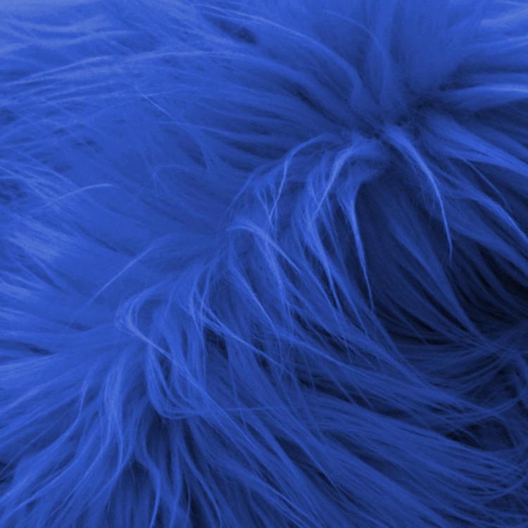 Fausse fourrure poil long bleu