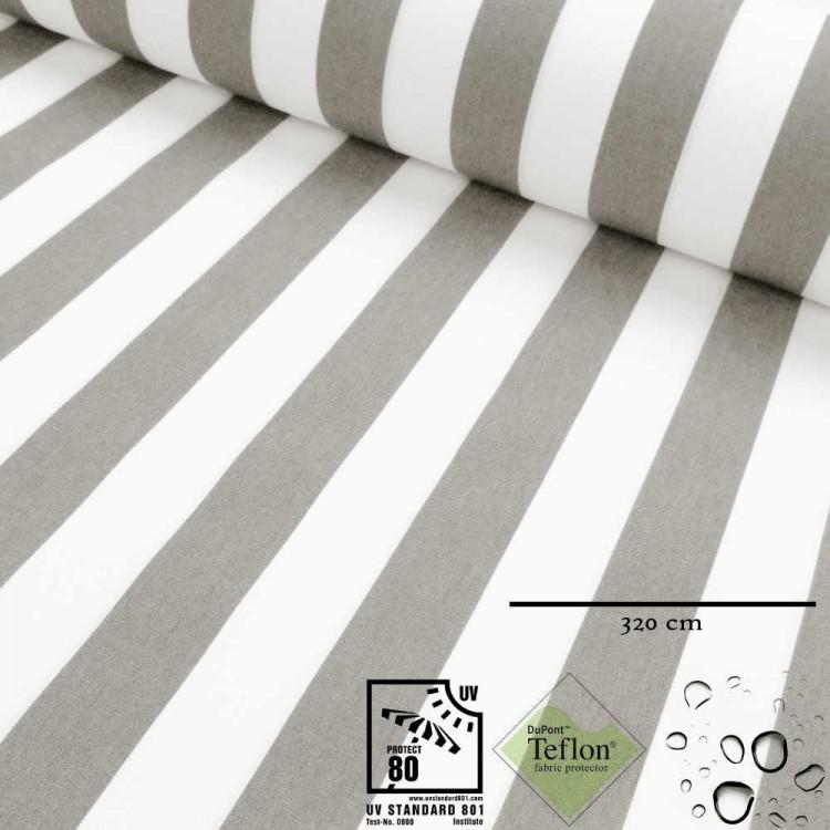Toile d'extérieur grande largeur rayures grises
