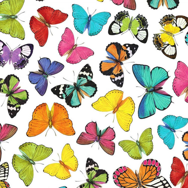 Coton imprimé papillons multicolores