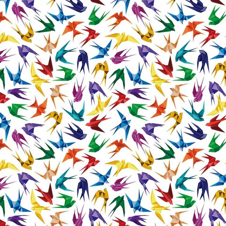 Coton imprimé hirondelles origami
