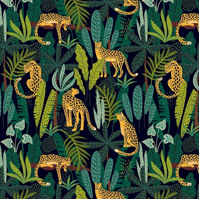Coton imprimé panthère tropicale