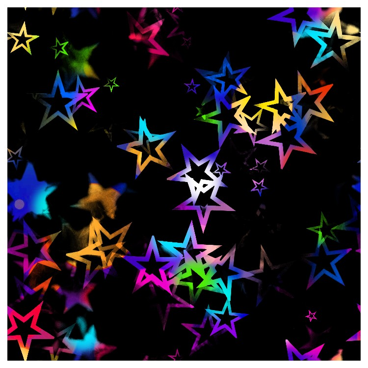 Lycra imprimé  étoiles multicolore