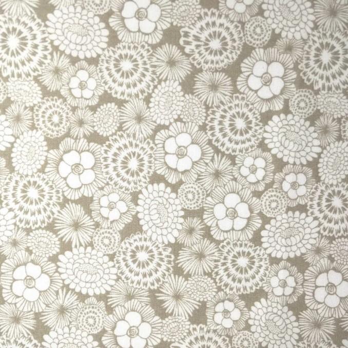 Coton imprimé floral beige et blanc