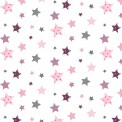 Coton imprimé étoiles rose
