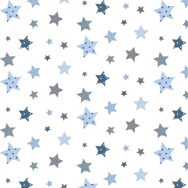 Coton imprimé étoiles bleu