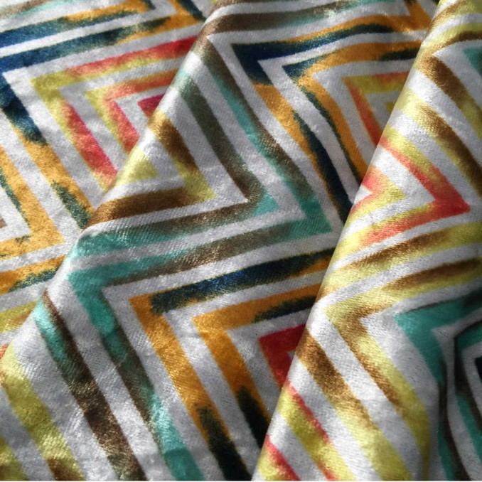 Velour strech chevron multicolor
