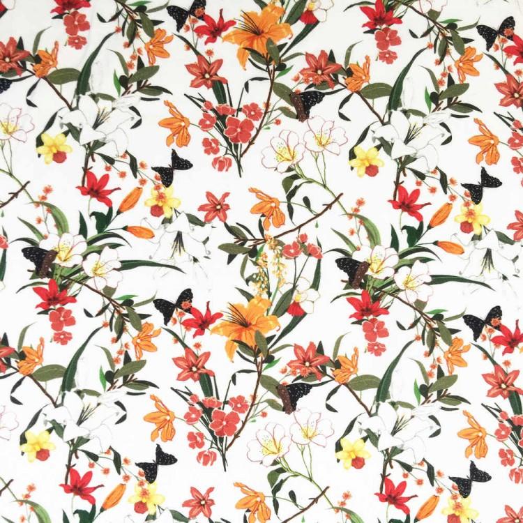 Coton imprimé fleurs tropicales