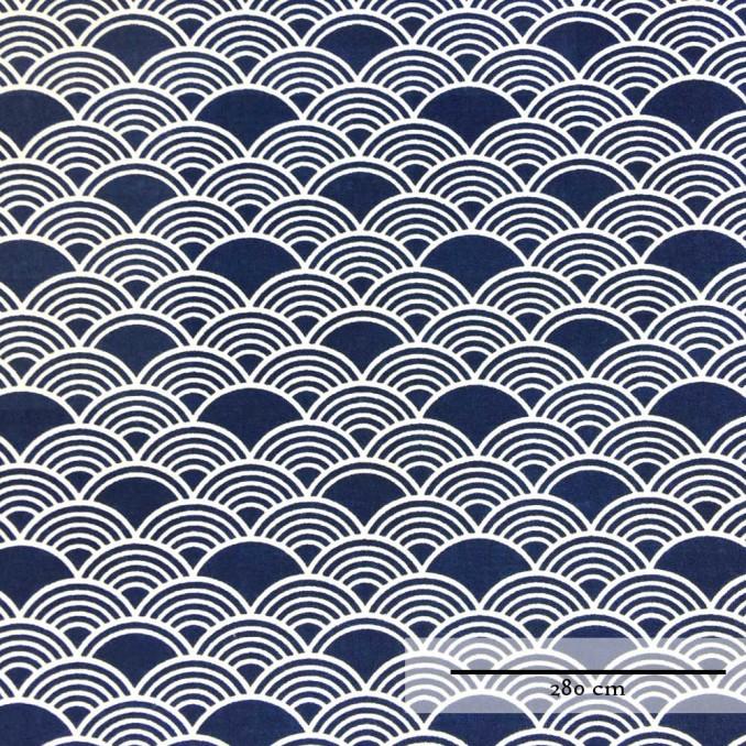 Coton grande largeur vague japonais bleu
