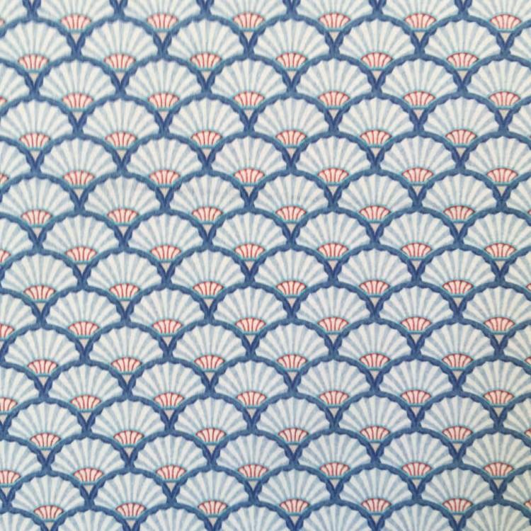 Coton imprimé éventail japonais bleu