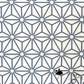 Tissu enduit asanoha blanc/marine