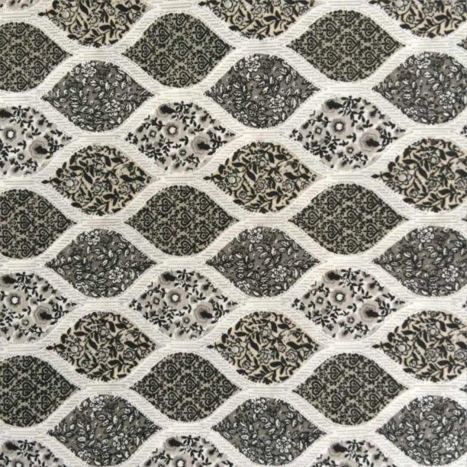 Coton imprimé géométrie florale noir