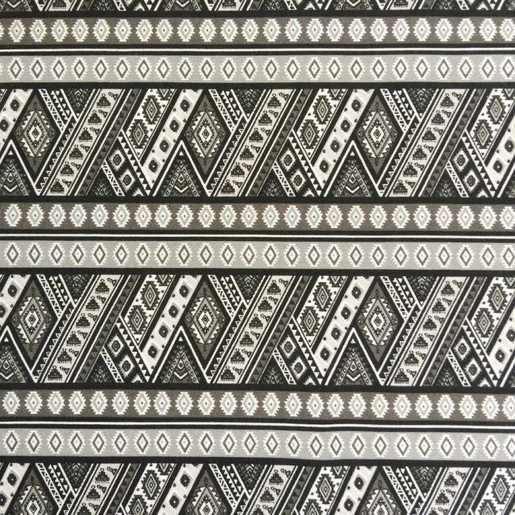 Coton imprimé aztèque noir
