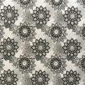 Coton imprimé fleur mandala noir