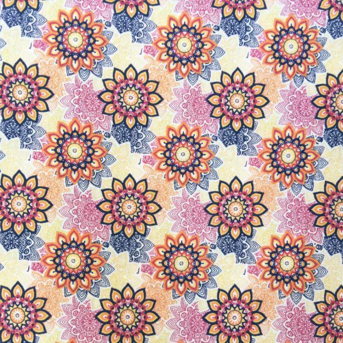 Coton imprimé fleur mandala multicolor
