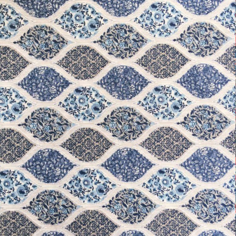 Coton imprimé géométrie florale bleu