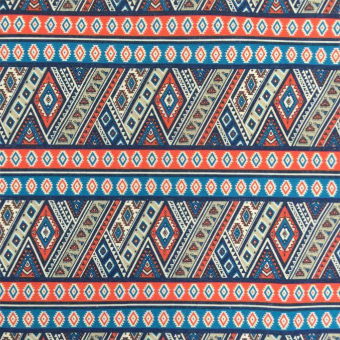 Coton imprimé aztèque bleu