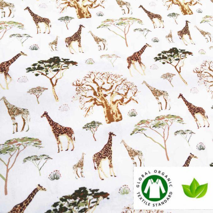Coton BIO imprimé girafe
