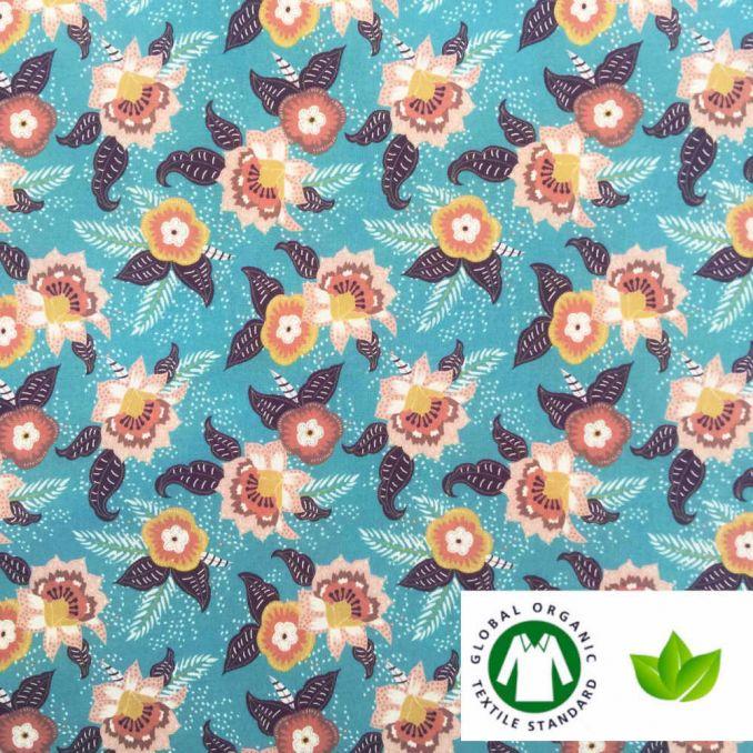 Coton BIO imprimé fleur LAIA