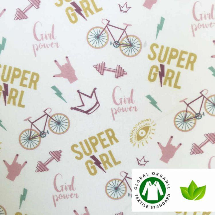 Coton BIO imprimé SUPER GIRL