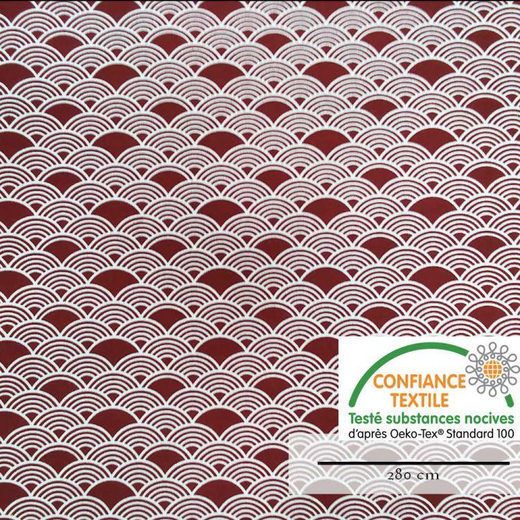 Coton grande largeur vague japonais bordeaux