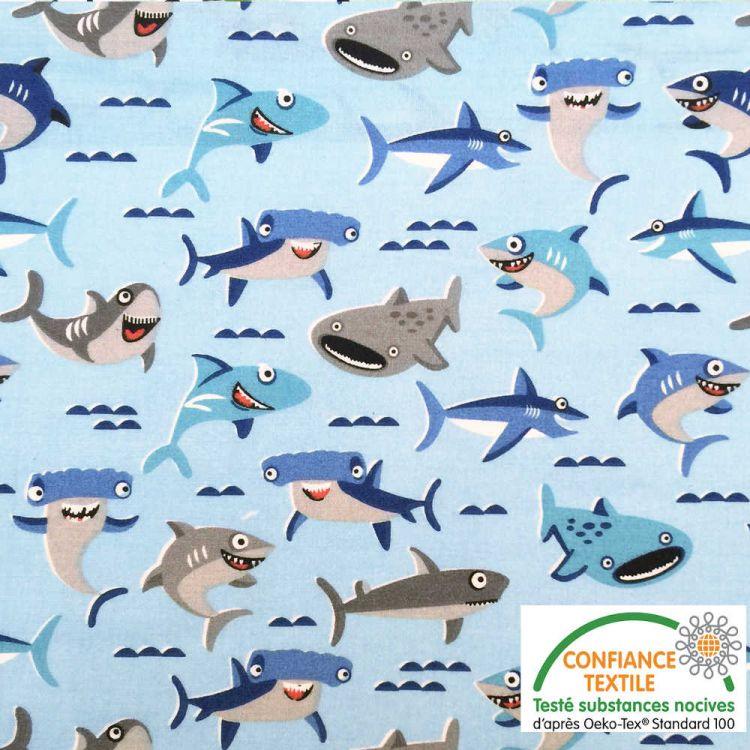 Coton imprimé Requins