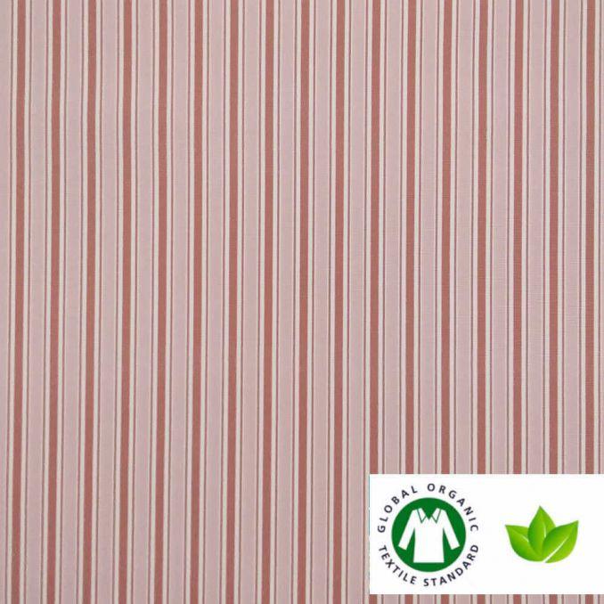 Coton BIO imprimé rayures rose