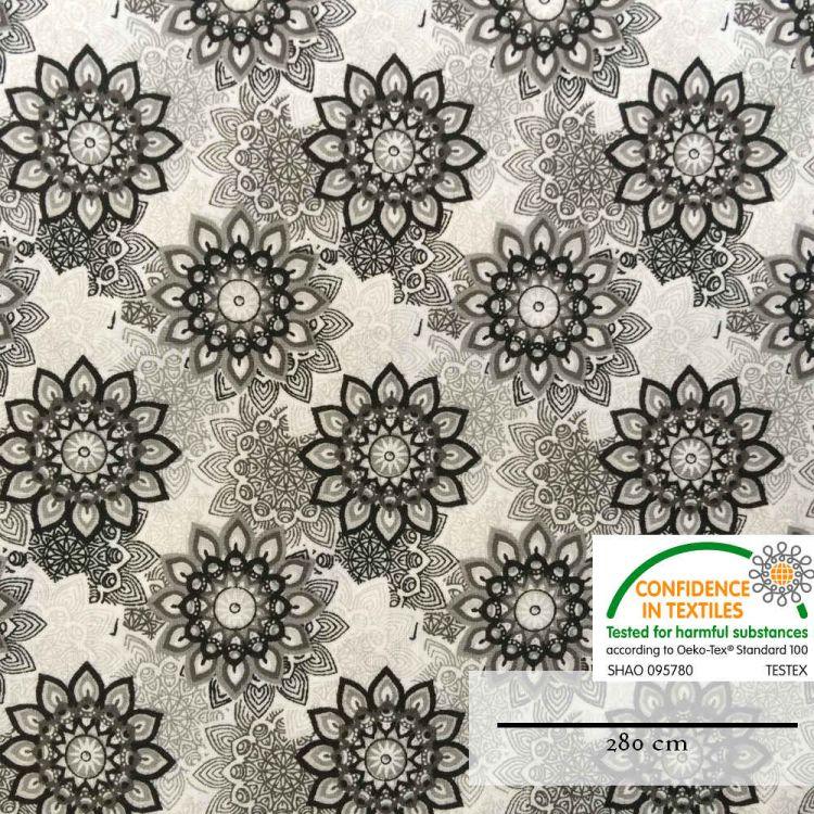 Coton imprimé fleur mandala noir grande largeur