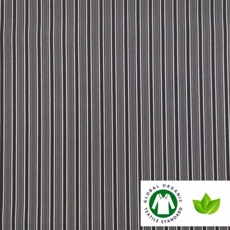 Coton BIO imprimé rayures noir