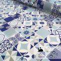 Toile cirée mosaiques bleu