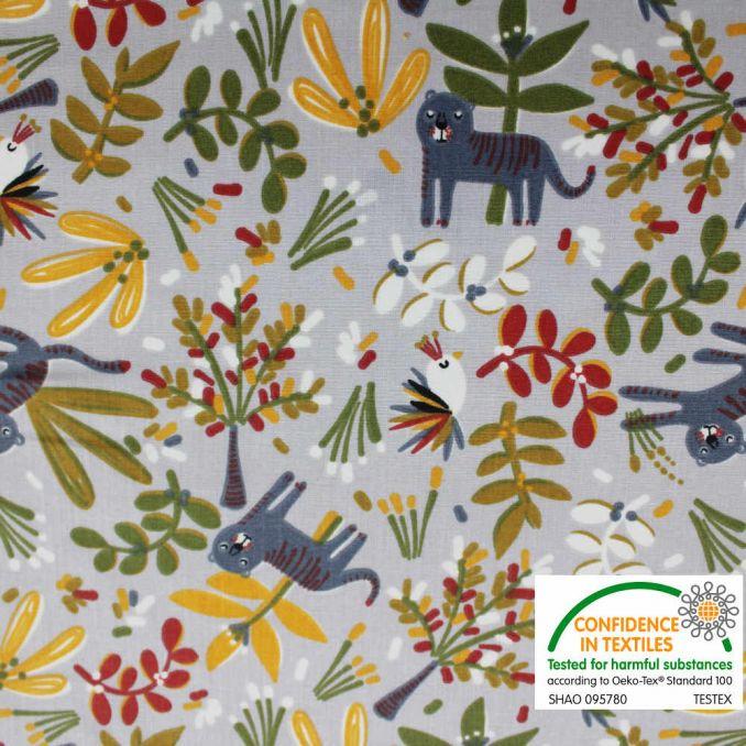 Coton imprimé Jungle fond gris