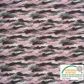 Coton imprimé camouflage rose
