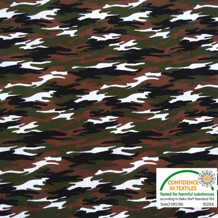 Coton imprimé camouflage vert