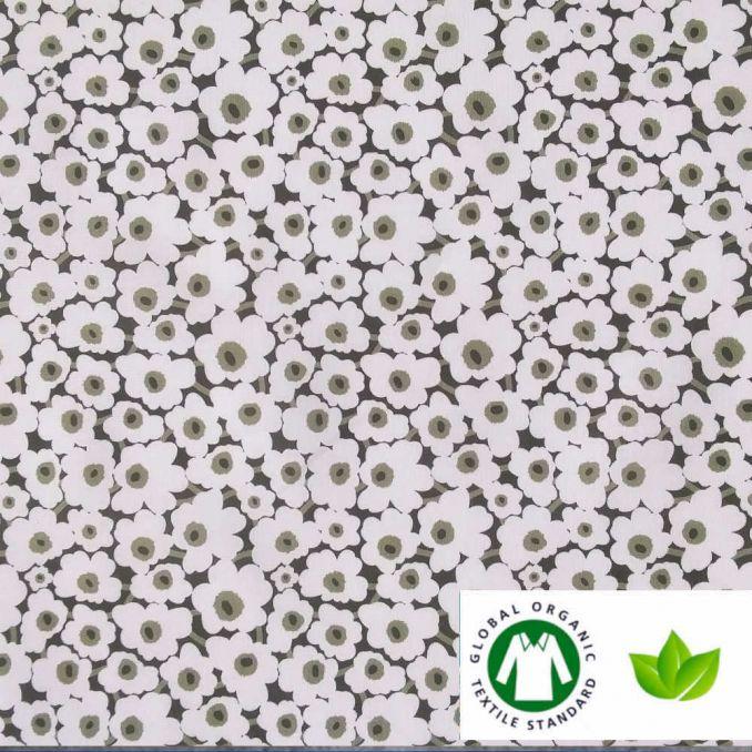 Coton BIO imprimé fleur blanche