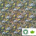 Coton BIO imprimé semi fleur fond vert
