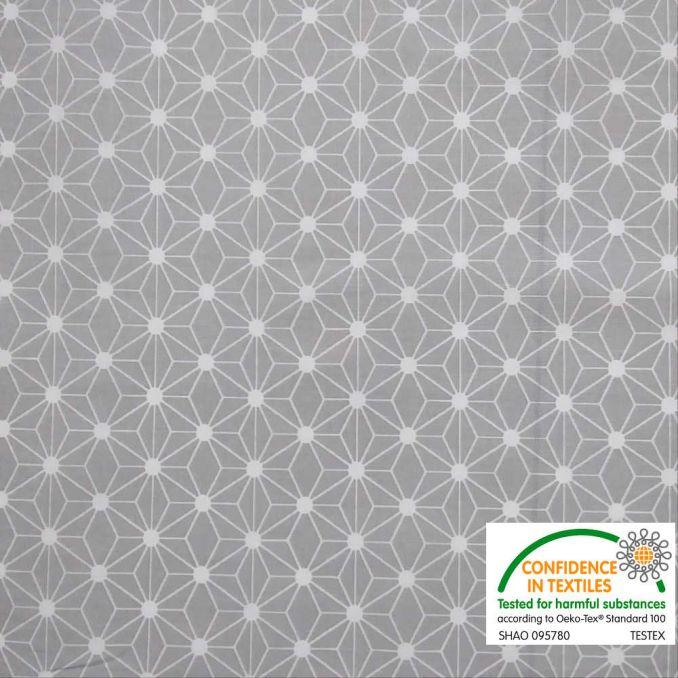 Coton imprimé étoile japonaise gris