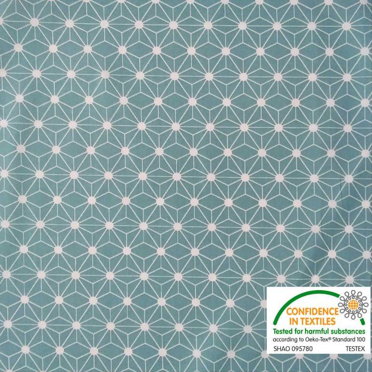 Coton imprimé étoile japonaise bleu vert