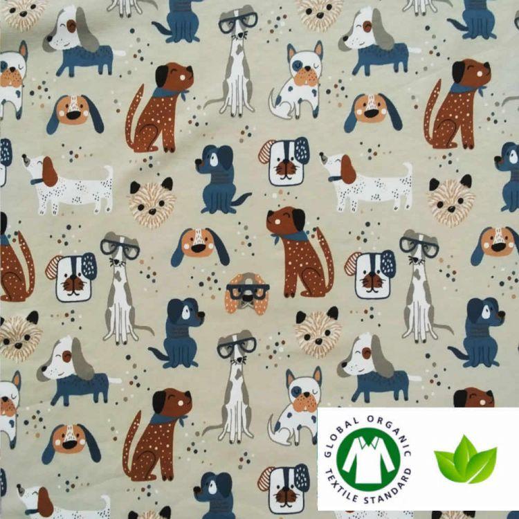 Jersey coton BIO imprimé chiens bigleux