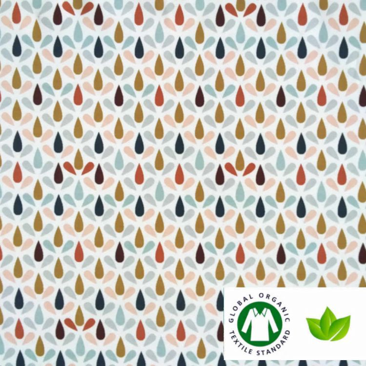 Jersey coton BIO imprimé pluie