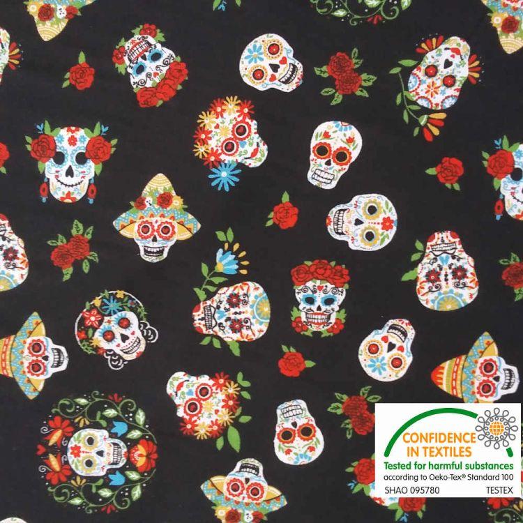 Coton imprimé Calaveras Mexicaines