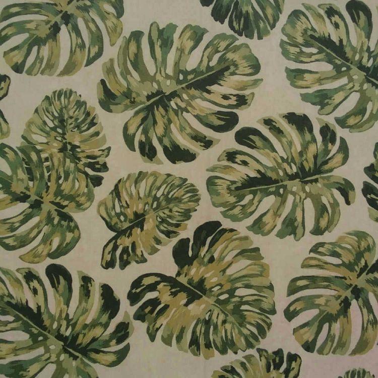 Tissu enduit imprimé tropique fond beige