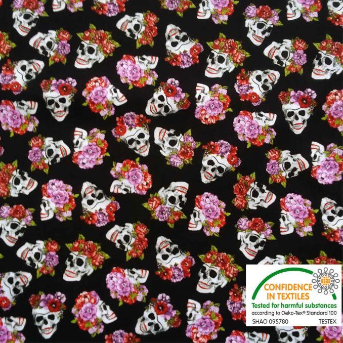 Coton imprimé Tête de mort & Fleurs