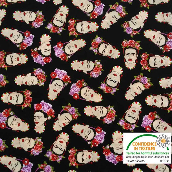 Coton imprimé Frida Khalo