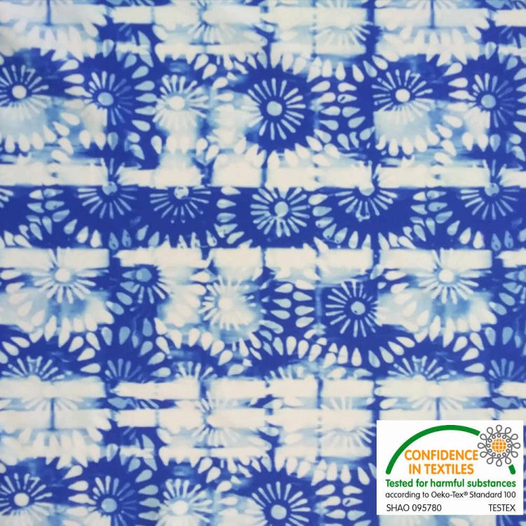 Lycra mosaïque bleu