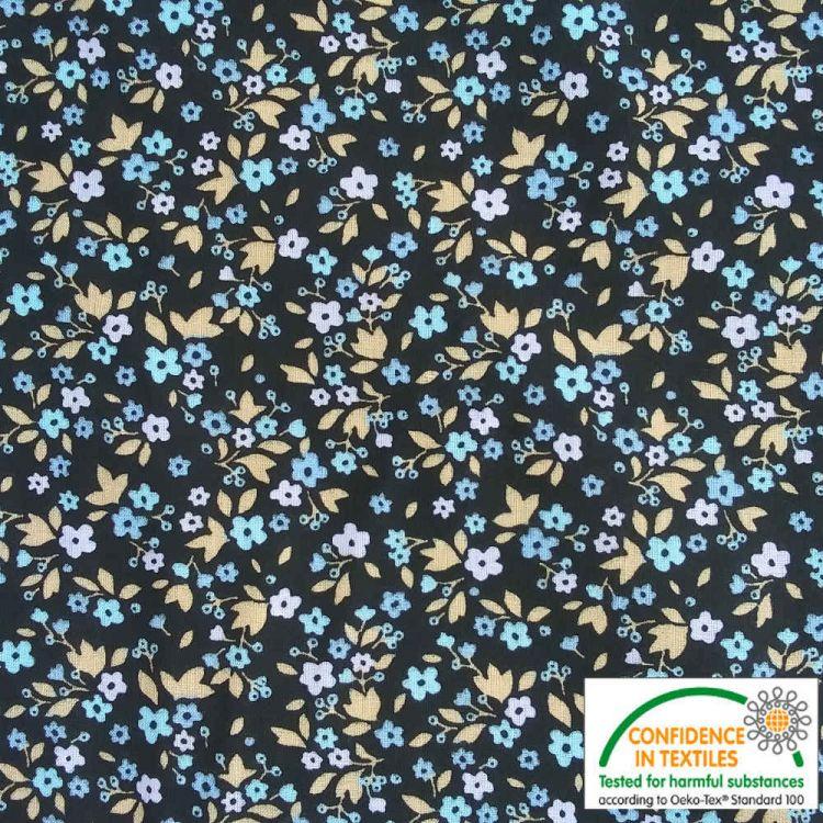 Coton imprimé Fleurs nuit