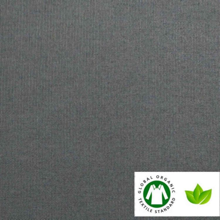 Toile de coton natté BIO / GOTS gris acier